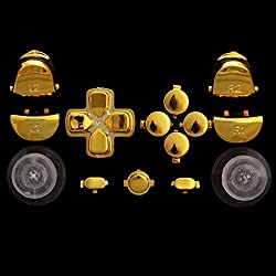 Gold Controller Thumbsticks Dpad Home R1/L1/R2/L2 Buttons Replacements For Ps4