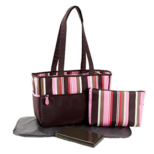 Pretty Baby - Microfiber Striped-print Diaper Bag, Pink