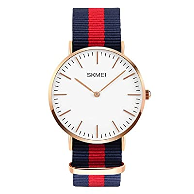 CakCity Men's Stainless Steel Classic Quartz Analog Wrist Business Watch with 40mm Case, Replaceable Multi-Color Striped Nylon Band