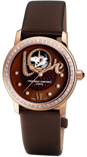 Frederique Constant Women's FC310CLHB2PD4 Ladies Automatic Brown Open Dial Diamond Watch