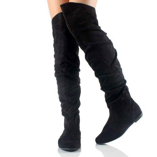 black boots vickie 02 black thigh high flats