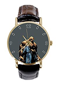 Invisible Woman, Thing Fantastic Four Custom Women / Men Leather Band Metal Unique Sports Watch Unisex Fashion Gold Watch