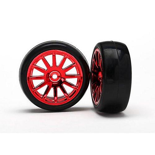 Traxxas Assembled, Glued 12-SpokeTires & Wheels, Red/Chrome