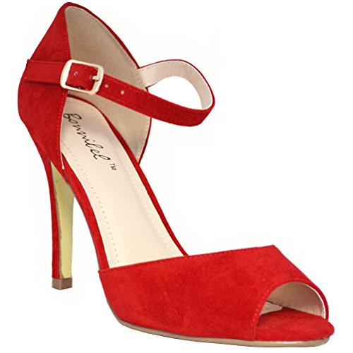 Bonnibel Women's Alina-1 Peep Toe Stiletto Ankle Strap Dress D'orsay Pumps, Red