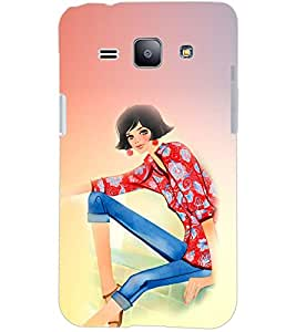 PrintDhaba CUTE GIRL D-6708 Back Case Cover for SAMSUNG GALAXY J1 (Multi-Coloured)