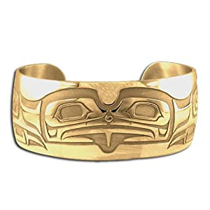14K Yellow Gold Northwest Coast Native American Bear Bracelet. Made in USA.