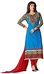 AAINA Women's Cotton Unstitched Dress Material (Blue)