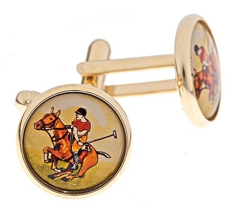 JJ Weston gold plated cufflinks with an image of a polo player with presentation box. Made in the U.S.A