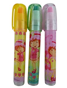3 Piece Strawberry Shortcake Eraser Set - Childrens Eraser Pens
