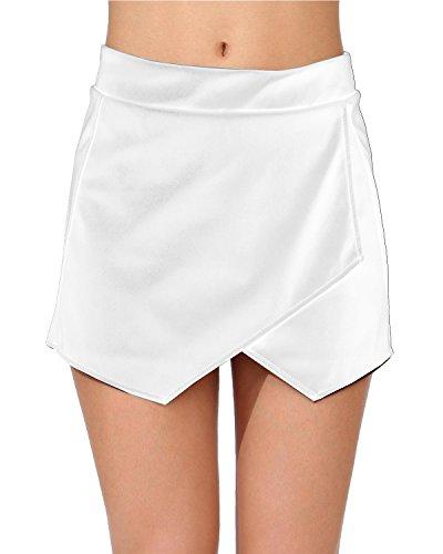 Damen Fashion Super Mini Rock Lack Leder Dessous Weiss C-String Wetlook Shorts Gogo Größe XS/S