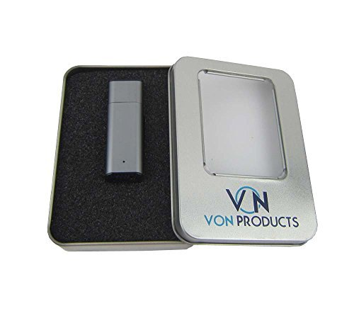 Voice Recorder 8GB USB Digital Spy Voice Portable Dictaphone Recorder Gunmetal/Gray with Free Lanyard in Assorted Colors Silver Gunmetal Blue Gold in a Premium Alloy Housing in a Beautiful Presentation Tin (Spy Electronics compare prices)