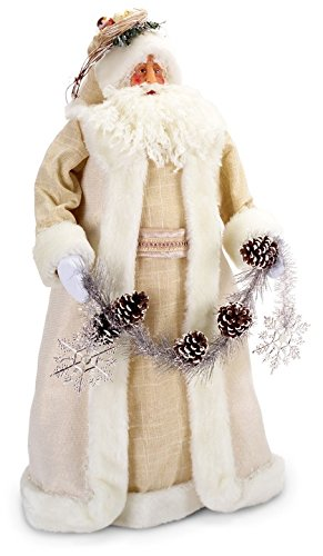 Ivory and Creamy White 27-inch Table Top Santa Claus with Pine Cone Garland Christmas Decoration by Melrose