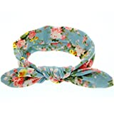Baby Turban Headbands, Cute Toddler Infant Girls Floral Bowknot Elastic Hair Bows Hairbands Rabbit Ears (Light Blue)