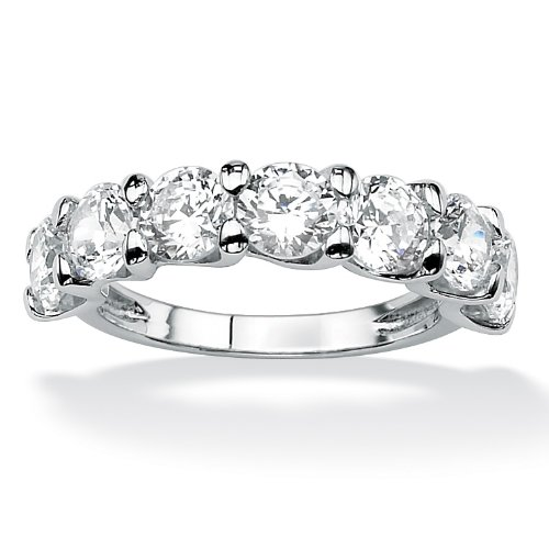 3.50 CT TW Round DiamonUltra™ Cubic Zirconia Anniversary Ring in Platinum over Sterling Silver