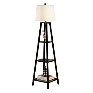 Amazon.com - Artiva USA A21038FLB Elliot Wood Shelf Floor Lamp