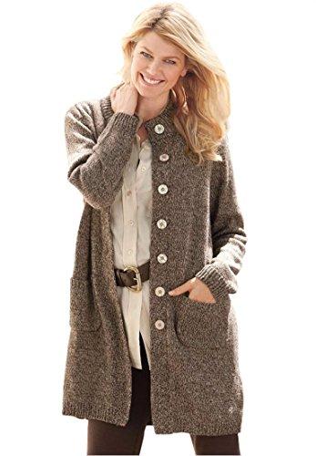 Women's Plus Size Sweater, Marled Cardigan Jacket Light Khak