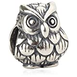 Owl Animal Charm Authentic 925 Sterling Silver Bead Fits Pandora Chamilia Biagi Troll Charms Europen Style Bracelets