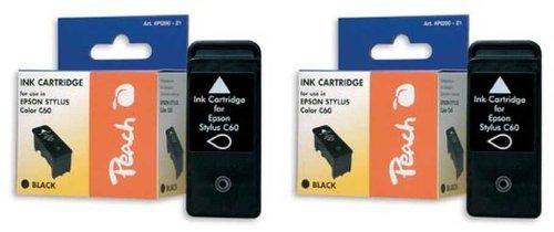 Peach E028 bk Doppelpack Tintenpatronen kompatibel zu Epson T028, schwarz