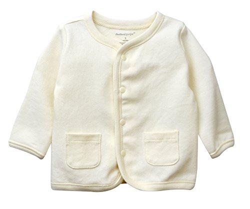 DorDor & GorGor ORGANIC Toddler Kids Baby Cardigan Top, Dye Free, 100% Cotton, 9-12 Months, Beige