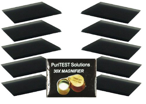 Coin Collectors 10-piece set of 6x3 in. PuriTEST scratch stones for testing gold, silver, platinum, Plus Free professional 30-x magnifying glass