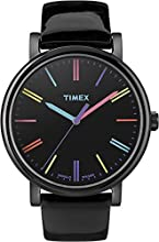 Timex Original Women's Quartz Watch with Black Dial Analogue Display and Black Leather Strap - T2N790PF