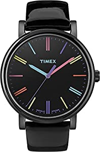 Timex Trend Women's Quartz Watch with Black Dial Analogue Display and Black Leather Strap T2N790PF
