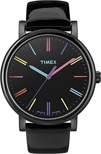 TIMEX T2N790 Orologio Analogico da Polso da Donna, Pelle, Nero