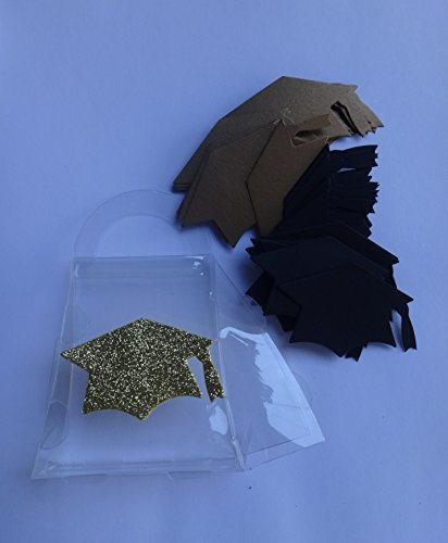 Graduation Confetti 40 Pc Black and Gold 20 of Each Card Stock