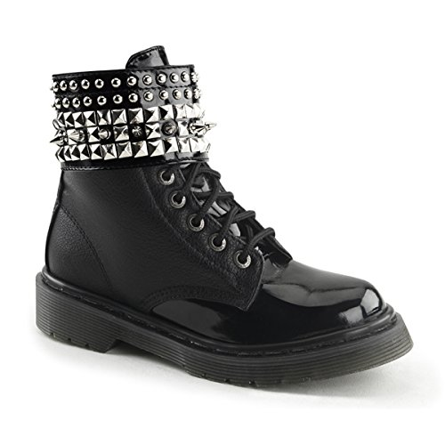 Womens Black Vegan Boots with 1.25 Inch Heels and Removable Spiked Ankle Cuff