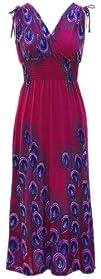Peach Couture Exotic Tahiti Multicolor Border Print Maxi Dress