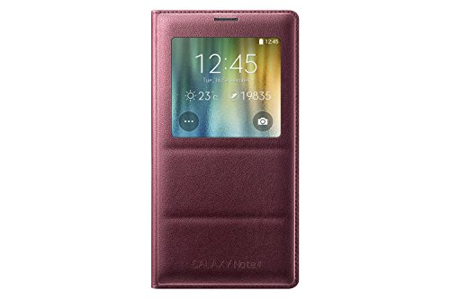 Samsung Galaxy Note 4 Case, S-View Flip Cover Folio Case - Plum Red