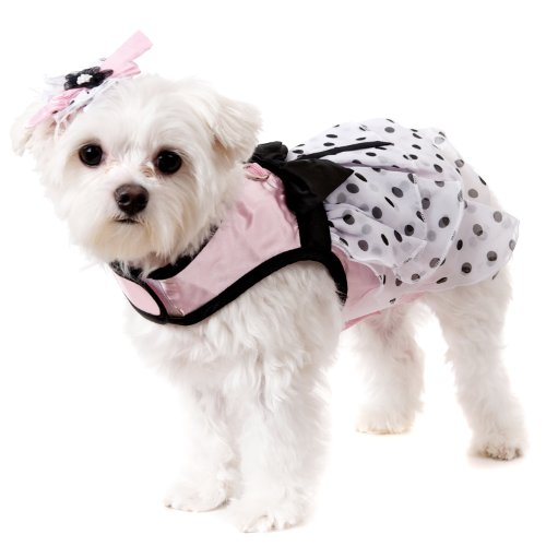 UrbanPup Pink Satin & Hearts Chiffon Harness Dress, Leash & Hat (Medium - Dog Body Length: 12