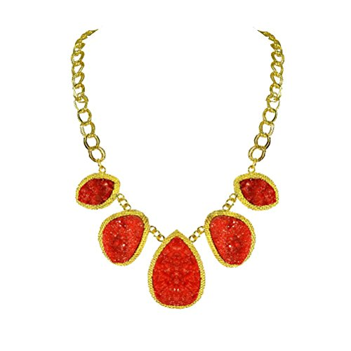Womens Fancy Resin Foam Jewelry Chain Pendant Flame Stone Drusy Necklace Gift (Costume Shops In Columbus Ms)