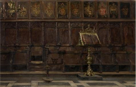 The Perfect Effect Canvas Of Oil Painting 'Emile Vloors - Choir Stalls In The Salvator Church In Bruges' ,size: 24x37 Inch / 61x95 Cm ,this High Quality Art Decorative Prints On Canvas Is Fit For Nursery Decoration And Home Decor And Gifts