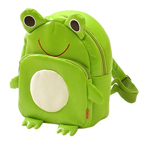 Tangda Kinder Rucksack Unisex Mädchen Jungen Shultertasche Kinderrucksack PU-Leder Kindergartentasche Beutel Tierkarikatur Frog Tasche School Bag - Grün