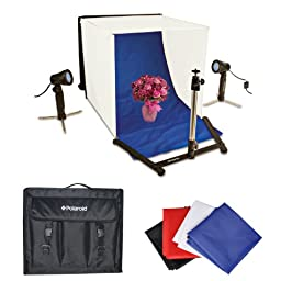 Polaroid Table Top Portable Photo Studio Light Tent Kit, Includes 1 Tent, 2 Lights, 1 Tripod Stand, 1 Carrying Caes, 4 Backdrops (Black, Blue, White, Red) For The Sony Alpha NEX-C3, 7, 6, 5N, 5R, 5T, 5, 3, 3N, F3, SLT-A33, A35, A37, A55, A57, A58, A65, A7