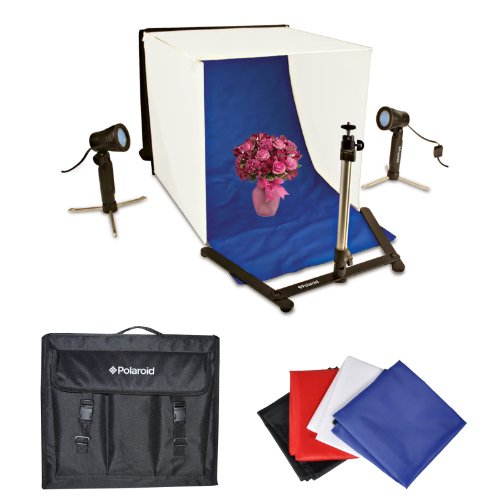 Polaroid Foto Studio Lichtzelt Set, beinhaltet 1 Zelt, 2 Lichter, 1 Stativ, 1 Tragetasche, 4 Kulissen (schwarz, blau, weiß, rot) für die Canon Digital EOS Rebel T4i (650D), T3 (1100D), T3i (600D), T1i (500D), T2i (550D), XSI (450D), XS (1000D), XTI (400D), XT (350D), 1D C, 60D, 60Da, 50D, 40D, 30D, 20D, 10D, 5D, 1D X, 1D, 5D Mark 2, 5D Mark 3, 7D, 6D, EOS M Digitale SLR Kameras