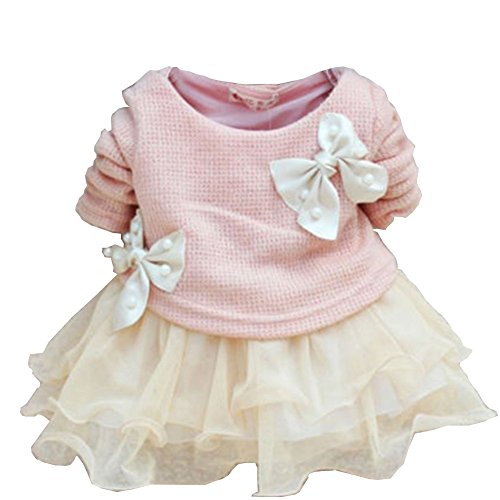 Juicart Baby Girls Dresses Long Sleeve Crochet Sweater Tops Lace Bowknot Tutu Clothing (9-12 Months, Pink)