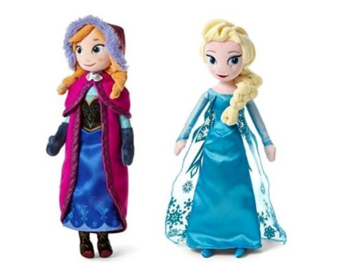 Disney Frozen Sisters Doll Set Featuring 16″ Plush Dolls of Anna and Elsa