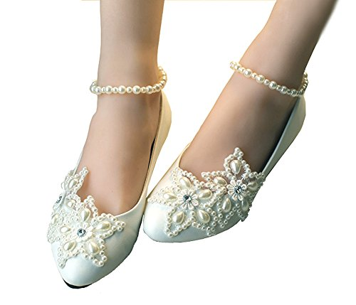 Getmorebeauty Women's Mary Jane Flats Pearls Across The Top Beach Wedding Shoes 8 B(M) US