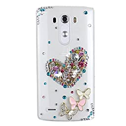 LG K7 Case, LG Tribute 5 Bling Case - Fairy Art Luxury 3D Sparkle Series Heart Butterfly Crystal Design Back Cover with Soft Wallet Purse Red Cloth Pouch - Colorful
