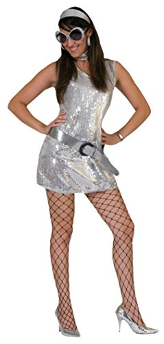 Funny Fashions Womens Retro Silver Disco Dress Theme Party Halloween Costume