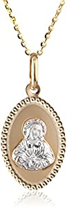 14k Two-Tone Gold Sacred Heart of Jesus Oval Medal Pendant Necklace, 18""