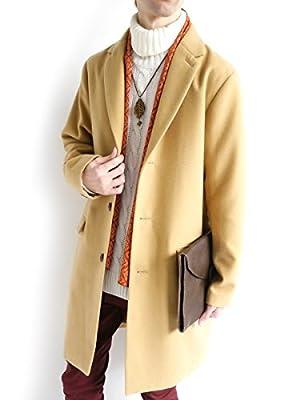 (モノマート) MONO-MART メルトン 起毛 コート チェスターコート ステンカラーコート 暖かい ロング丈 アウター キャメル【チェスター】 Lサイズ