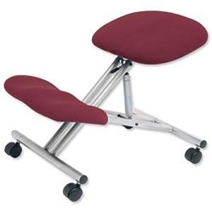 Trexus Kneeling Office Chair Steel Framed on Castors Gas Lift Seat H480-620mm Burgundy