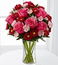 FTD Precious Heart Flower Bouquet - Roses and Carnations - 15 stems with vase