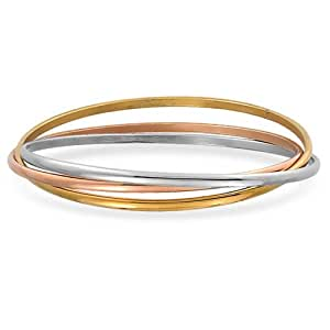 Bling Jewelry Stainless Steel Tri Color Interlocking Bangle Bracelets