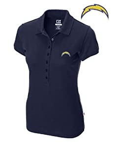 San Diego Chargers Ladies Ladies Sweet Spot Skinny Polo Navy Blue by Cutter & Buck