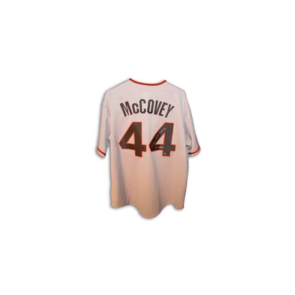 Autographed Willie McCovey San Francisco Giants Gray Jersey Inscribed 521 Hrs