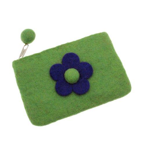 Felt Daisy Flower Purse 150 x 100mm - Green